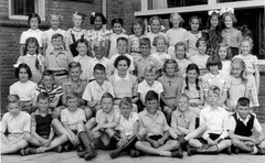 Summer Class photo (theirhistory) Tags: boy child kid girl school class form group pupils students jacket jumper trousers shoes wellies dress skirt shorts wellingtons
