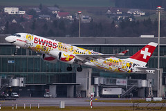 """Swiss Bombardier CSeries CS300  HB-JCA """"Suisse Romande"""" livery (Florian GIORNAL) Tags: swiss bombardier cseries cs300 hbjca suisseromande livery lszh zrh zurich zrhmovements avgeek aviation aviationphotography air aircraft airport aeroport airliner spotting spotter switzerland suisse kloten"""