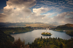 Lake Bled Slovenia (Explored) (Russell Eck) Tags: water lake bled slovenia nature wilderness landscape clouds sunset russell eck travel mountain island europe explore explored