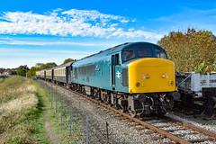 45041 - Wansford - 13/10/18. (TRphotography04) Tags: british rail br blue 45041 royal tank regiment departs wansford with 2e50 peterborough taken during nene valley railway autumn diesel gala 2018