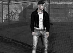 You with your switchblade posse (MATTY // *OMG*) Tags: sl secondlife virtual world 3d male avi avatar blog blogger style lotd look outfit fashion wear clothes clothing new exclusive themensdept tmd mesh kalback denim jeans ripped pants leather jacket tori torricelli toritorricelli biker urban street streetwear chilled casual cool hipstermensevent hme ap anaposes animations poses
