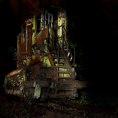 Light-painted (MikeOB64) Tags: light painted loco decay rust maglite