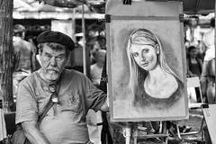 The Artist (Gui.llau.me) Tags: people street rue man paris france art mono monochrome noir et blanc black white nb bw portrait eyes see regard homme artist artiste montmartre