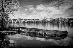 The Dock IR (Steve Troletti™ Nature & Wildlife Photographer) Tags: 720nm schweiz art artist clouds dock fall fine houses infrared infrarouge ir masterpiece nikkor nikon old outdoor photography river sky stefano steve texture trees troletti vegetation water white wood