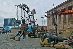 Little Boy Giant and Xolo (James O'Hanlon) Tags: giants giant liverpool spectacular liverpoolspectacular liverpoolsdream dream liverpools 3 3giants threegiants new brighton newbrighton wirral beach fortperchrock royal de luxe royaldeluxe jeanluc courcoult jeanluccourcoult dog walk drink
