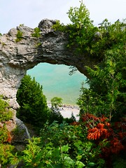 Arch Rock (ekelly80) Tags: michigan mackinacisland august2018 summer upnorth puremichigan archrock rock geology view water lake lakehuron green forest