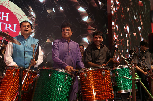 Ameet Satam and Kirit Somaiya play the drums at Ameet Satam's Adarsh Navratri Utsav at JVPD Grounds, Juhu