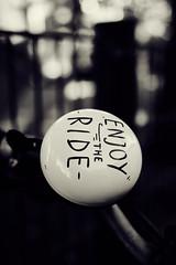 Enjoy the ride! (iamunclefester) Tags: münchen munich asatouristinmyhometown manualfocus manualfocusday street blackandwhite monochrome enjoytheride enjoy ride bike bicycle bell bicyclebell bikebell dark toned dof handlebar