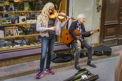 Fiddler (Мaistora) Tags: street music busking girl man old granddar granddaughter duo violin guitar acoustic classical fiddle folk country virtuoso celtic oldtown stockholm shop photographic vintage retro antique colour colourful vibrant vivid life lively bright enhanced ott taste