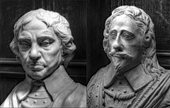 Oliver Cromwell and Charles 1, Lady Lever Art Gallery, Port Sunlight, Wirral, Merseyside (alanhitchcock49) Tags: lady lever art gallery port sunlight wirral merseyside mono black and white sculptures mosaics collage oliver cromwell king charles 1