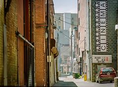 Charleston Alley (RansomedNBlood) Tags: lomographycolor100 filmphotographyprojectstore mediumformat mamiya645j charleston wv westvirginia streetphotography architecture alley