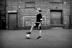 Northern Grit. (plot19) Tags: jay love light longsight manchester england english britain british blackwhite boy snapback nikon north northern northwest plot19 photography portrait people brick ball football kids kid