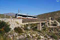 Viaducto D'Aigües Bixes (lagunadani) Tags: fgv viaducto bridge puente 4100 trentram tranvia tren ferrocarril narrow gauge trenet trenetdelamarina elcampello alicante spain paisaje tram