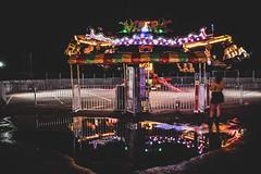 Viper and Skirt (creteBee) Tags: reflection water matte color festival carnival neon viper skirt mustardyellow oktoberfest fair celebration outdoor autumn fall carny streetfair girl ride people joy fun fast spinning night light