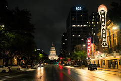 Paramount Theatre (~Arles) Tags: downtown austin texas capitol dome street intersection lights traffic car theater sign urban city
