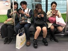 Japan: Tokyo subway train (Henk Binnendijk) Tags: tokyo japan people subway underground metro candid passengers smartphone gsm cellphone tokio train publictransportation