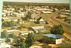 View of Cunnamulla, Qld - 1970s (Aussie~mobs) Tags: vintage queensland australia cunnamulla township houses homes residences streets town rural 1970s church