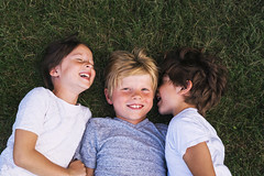 I hope they stay this close forever (Elizabeth Sallee Bauer) Tags: active bonding boy brother child childhood children family friends fun girl happiness happy kid laughing outdoors outside overhead playing qualitytime siblings silly sister smiling summer threechildren together togetherness youth