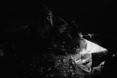Darkness surrounds when the light dies (Sonofsono) Tags: film graflex speedgraphic black bw white gp5 apocalyptic apocalypse postapocalyptic gas mask fire