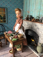 5. By the hearth (Foxy Belle) Tags: kitchen hearth miniature old fashioned doll dollhouse 19th century new england food 16 scale scene playscale tammy ideal bonnet apron dress long window fireplace