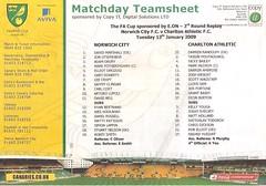 Norwich City v Charlton Athletic (Charlton Athletic Programmes) Tags: norwich norwichcity charltonathletic charlton facup replay teamsheet 0809