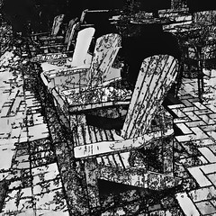 chairs in the darkness (j.p.yef) Tags: peterfey jpyef yef chairs outside darkness night monochrome bw sw digitalart iphone photomanipulation square