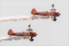 'The Flying Circus' AeroSuperBatics Boeing B.75N1/ N2S-3 Kaydet SE-BOG '1' and Boeing PT-17 Kaydet N74189 '2' with Wingwalkers (Hugh Dodson) Tags: duxford duxfordairfestival theflyingcircus aerosuperbatics boeingb75n1n2s3 kaydet sebog 1 wingwalker boeingpt17 n74189 2