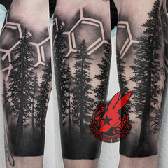 Pine Tree Forest Silhouette Blackwork Black and Grey Work Ca cannabinoid molecule CBD CBDA THC Sleeve Real Realistic Weed marijuana Pot Stoner Pothead Real Realistic Best Tattoo by Jackie Rabbit