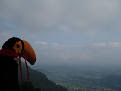 Ici Pelico observe le massif montagneux depuis un autre point de vue (vers Pokhara)