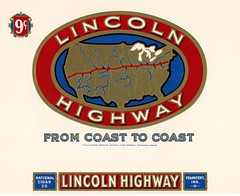 Lincoln Highway Cigar Label (Alan Mays) Tags: ephemera labels cigarboxlabels cigarlabels cigars cigarboxes advertising advertisements ads paper printed nationalcigarcompany companies maps roadside highways routes lincolnhighway route30 usroute30 unitedstates red blue gold borders illustrations frankfort in ind indiana antique old vintage typefaces type typography fonts textonacurve curvedtext