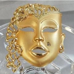 Large Brooch. Vintage Brooch. Face Brooch. Asian Lady Brooch. Princess Brooch. Rhinestone Brooch. Jewelry for Women. Gifts for Her. waalaa. (waalaa) Tags: etsy vintage antique shopping jewelry jewellery gifts wedding