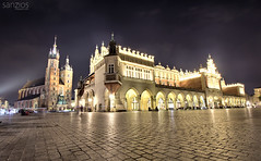 Cracow by night (sanzios) Tags: poland cracow krakow sukiennice church square landmark tower town europe building market city old gothic architecture main polish basilica tourism travel hall historic clothhall view mary evening night cityscape historical rynek history cracovia sky cathedral street cloth famous mariacki medieval morning malopolska mainmarketsquare glowny st summer urban european towers renaissance
