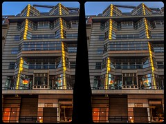 Post-modern architecture of Berlin 3-D / CrossView / Stereoscopy (Stereotron) Tags: berlin spreeathen mitte metropole hauptstadt capital metropolis brandenburg city urban architecture contemporary modern postmodern modernism cross eye view xview crosseye pair free sidebyside sbs kreuzblick bildpaar 3d photo image stereo spatial stereophoto stereophotography stereoscopic stereoscopy stereotron threedimensional stereoview stereophotomaker photography picture raumbild hyperstereo canon eos 550d chacha singlelens kitlens 1855mm 100v10f tonemapping hdr hdri raw availablelight