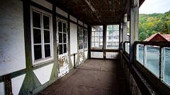 hotel balcony (A.K. 90) Tags: weathered abandoned urbex urban verlassen alt old outside balkon balcony sonyalpha6000 samyang12mm20 green white grün weis door window glas glass fenster tür holz wood ausblick