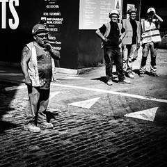 Work (Kieron Ellis) Tags: men site building work cobblestones pavement sunglasses hardhat boots smoking candid street blackandwhite blackwhite monochrome