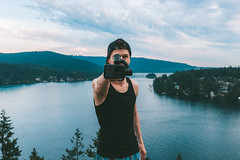 Be a Pro with GoPro (Top KM) Tags: lake weekend vacation recreation water travel sky sunset outdoors summer clouds park mountain canada hike hiking sundown outdoor outside cloudy mountains british columbia vancouver north man one gopro person camera scenic