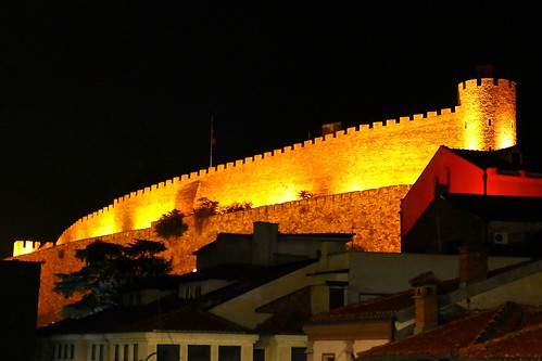 Skopje fortress at night
