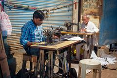 Ma petite entreprise..Varanasi ..India (geolis06) Tags: geolis06 asia asie inde india uttarpradesh varanasi benares portrait tailor tailleur couturier banaras olympuspenf olympusm1240mmf28 street rue