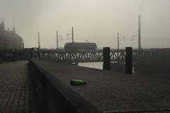 Hamburg - green bottle and train II (Haim Dizengoff) Tags: jägermeister train travel drunk grey green hazy foggy hamburg morning