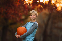 Just a boy and the pumpkin he grew (Elizabeth Sallee Bauer) Tags: 9yearold nature autumn backlight beautyinnature boy child childhood cozy fall fresh fun glow golden goldenlight happiness kid leaves light nonurbanscene october orange outdoors outside playing portrait pumpkin pumpkinspice trees youth