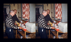 Win Swain and Snooks prepare dessert - Greenville, Maine - 1950 (ah_pook) Tags: stereorealist 3d parallel maine dessert peaches 1950 greenvillemaine greenville
