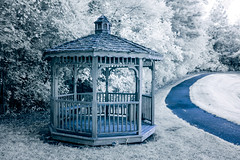 Gazebo by the Lake (Neal3K) Tags: kolarivisionblueirndvifilter ir infraredcamera fayettecountyga georgia blue gazebo walkingpath