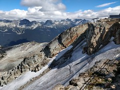 Whistler Bowl in summer (Ruth and Dave) Tags: whistler whistlerblackcomb whistlermountain whistlerpeak whistlerbowl alpine bowl glacier debris scree summer cliff chairlift peakchair skiresort