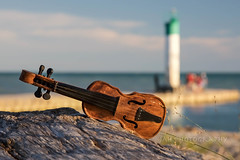 Fiddler On The Beach (jah32) Tags: portbruce ontario canada light pier water lakeerie lake lakes greatlakes thegreatlakes beach beaches shore shoreline evening eveninglight violin fiddle miniature dof instrument