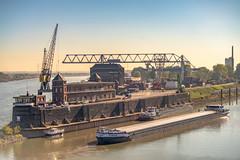 Der Krefelder Rheinhafen (Of Light & Lenses) Tags: zeissvariosonnar3570210mm deutschland rheinland krefeld hafen mittagszeit rhein rhine river boat vintagelens cranes nrw contax