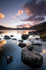 Ray Man (Mark Boadey) Tags: llynnaumymbyr xt3 reflection rocks snowdonia sunset wales water