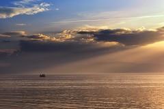 0858 Golden Water II (Hrvoje Simich - gaZZda) Tags: sky clouds water golden lake boat sunset sunrays sun light blue outdoors landscape waterscape travel ohrid macedonia europe nikon nikond750 nikkor283003556 gazzda hrvojesimich
