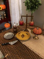 Autumn! Time for leggings, slouchy socks, big sweaters, pumpkin spice EVERYTHING and comfy quilts layered on the bed (JunqueDollBoutique) Tags: vintage brass miniatures rement apple pie burlap dining room diorama barbie playscale autumn fall