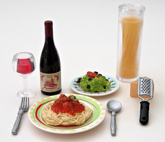 Fun Meals # 8 (MurderWithMirrors) Tags: rement miniature food funmeals mwm spaghetti pasta meatballs fork spoon plate dish meal wine redwine winebottle wineglass grater cheese parmesan salad
