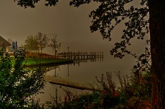 Fog on the water(not smoke) (alex.vangroningen) Tags: fog three leaves grass water house light jetty colors frame greeny lake